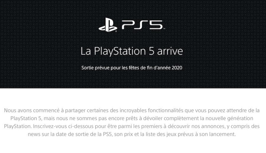 La première page internet officielle sur la PS5